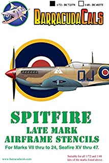 Barracuda Cals 1/72 Scale Decal Spitfire Later Marks Airframe Stencils - BC72378