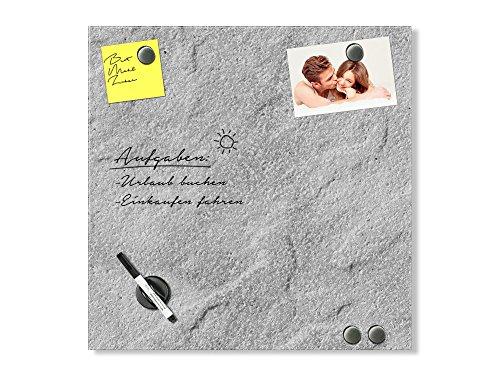 GRAZDesign Pinnwand Granit, Memoboard Granitoptik, Magnetwand grau, Magnettafel Glas hell / 50x50cm