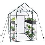 TOOCA Mini Greenhouse 12 Sturdy Shelves 56'' X 56'' X 77'' Portable Walk-in Plants Greenhouse for Indoor/Outdoor Gardens, Patios, Backyards, for Growing Seeds, Young Plants, with Roll Up Zipper Door