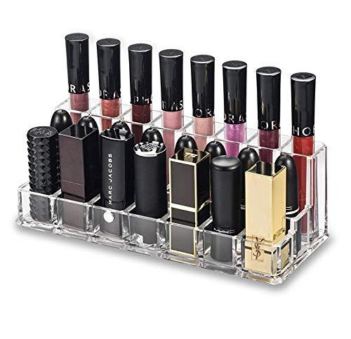 BXZ Schimmel, Lippenstift Größere Basis Lippenstifte Acryl Lip Makeup Organizer | Kombinationsreihen für Lipgloss (hintere Reihe) für Frauen und Mädchen