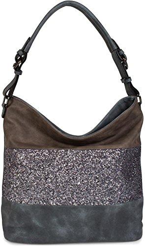 styleBREAKER edle 2-farbige Hobo Bag Handtasche mit Pailletten Streifen, Shopper, Schultertasche, Tasche, Damen 02012181, Farbe:Blau/Dunkelbraun