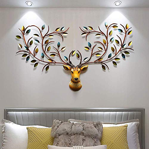 Decoración de arte grande 3D cabeza de ciervo árbol de la vida hierro ramas de metal hojas colgante ornamento decoración vintage A+120cm