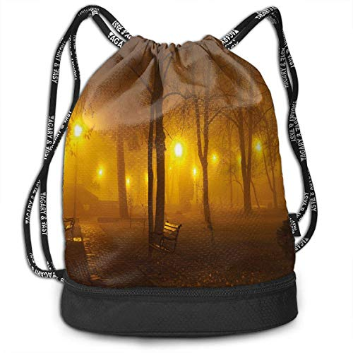 shenguang Kordelzug Rucksäcke Taschen, nebligen Abend im Park Herbstsaison Natur draußen Nebelige friedliche Aussicht, verstellbar