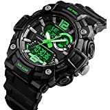 Big Dial Digital Watch S Shock Men Military Army Watch Water Resistant LED Sports Watches (Green)