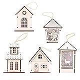 chengrong Natale Bagliore Inglet Stakes Creativo Natale Snow House con Pezzi di Legno di Legno Color Chiaro (5 Set)