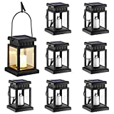 GIGALUMI 8 Pack Solar Hanging Lantern Outdoor, Candle Effect Light with Stake for Garden,Patio, Lawn, Deck, Umbrella, Tent, Tree,Yard,Driveway-Warm White