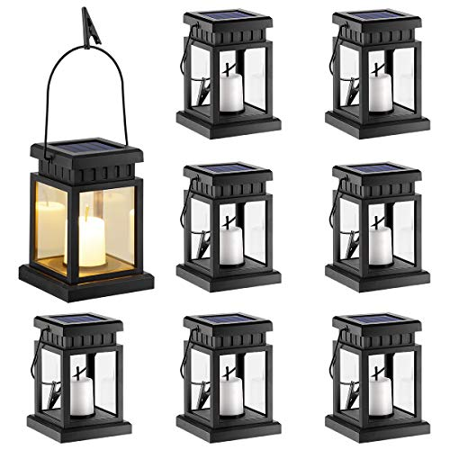 GIGALUMI 8 Pack Solar Hanging Lantern Outdoor, Candle Effect...