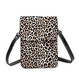 Bolsa de hombro pequeña, diseño de leopardo o jaguar sin costuras, diseño moderno de animal, bolso de mano para teléfono celular, cartera ligera para mujeres y niñas