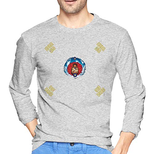 Asuuats Santana Lotus Mens T-Shirt Long Sleeve Pattern Tops Gray L