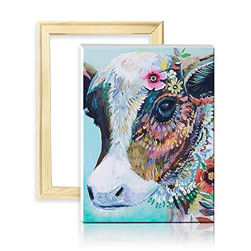 ufengke Kit Pintura de Diamantes 5D Vaca Flor Punto de Cruz Diamante Completo DIY para Amantes del Arte, con Marco de Madera, Diseño 25x35cm