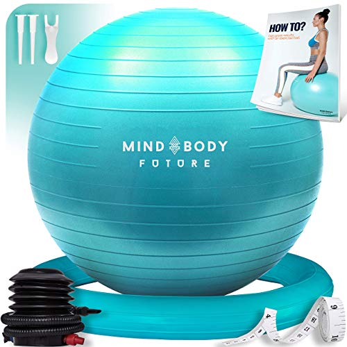 Ballon de Gym ou Swiss Ball de Mind Body Future. Idéal pour Pilates, Yoga, Grossesse, Fitness. Robuste, Antidérapant, Hypoallergénique - 65 cm. Livré avec Base et Pompe. Turquoise