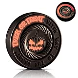 LION CITY Halloween Pumpkin Fidget Spinner, Glow in The Dark Hand Spinner with Red Luminosity, Fully Metallic Desk Toy with Replaceable Bearing, Comes with Mini Flashlight, Matte Finish, Dark Brown