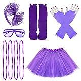 Jerbro 80s Costume Accessories for Girls, Skirt Leg Warmers Fishnet Gloves Bracelet Necklace Shutter Glass Purple