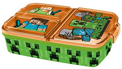 POS p:os 33168 - Fiambrera con diseño de Minecraft con 3 Compartimentos, 14 x 18,5 x 5,5 cm, de plástico, sin BPA ni ftalatos, Ideal para el Desayuno, guardería y Escuela, Multicolor