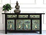Aparador comoda cajonera chifonier armario gabinete guardarropa chino oriental antiguo vintage asiatico shabby verde-negro