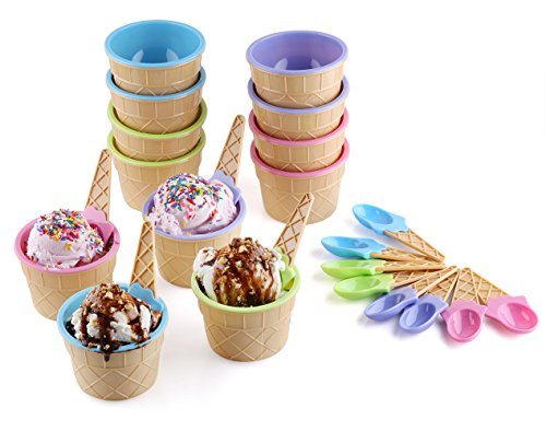 Ice Cream Dessert Bowls and Spoons (Set of 12)