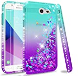 LeYi Compatible with Galaxy J7 2017/J7 V/J7 Prime/J7 Perx/J7 Sky Pro/Halo Case (Not fit J7 2018) with Tempered Glass Screen Protector for Girls Women, Glitter Case for Samsung J7V, Teal/Purple