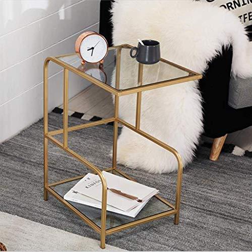LY88 Gehard Glas Dubbele Zijtafel Woonkamer Bank Metalen Koffie Bijzettafel, 35 * 42.5 * 62 CM (Kleur: Transparant)