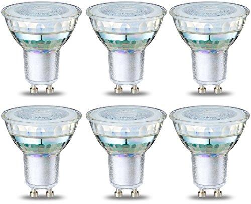 AmazonBasics – LED-Strahler-Leuchtmittel GU10, 4 W (entspricht 50 W), klarer Glühfaden, 6 Stück