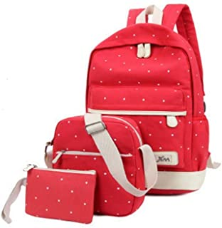 Women 3pc Canvas Fashion Outdoor Travel Backpack Bag Red
