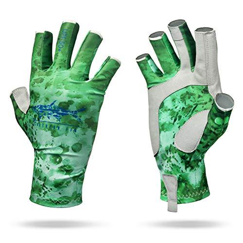 Southern Fin Apparel Kayak Fishing Gloves for Men Women Kids UPF50+ UV Sun Protection Fingerless Flyfishing, Rowing, Kayaking, Paddling, (Green, Large/X-Large)