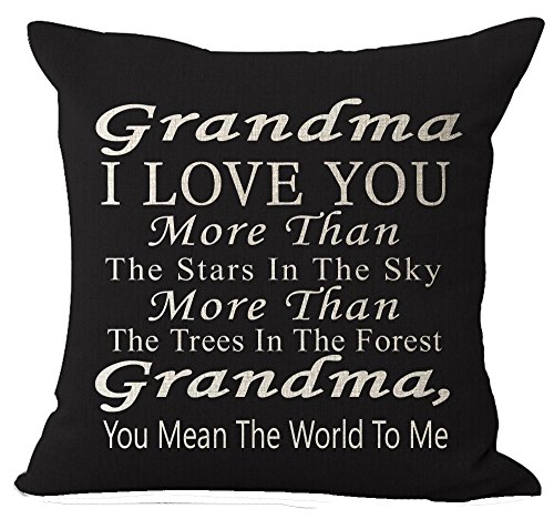 Best Gift Grandma I Love You More Than The Stars In The Sky You Mean The World To Me Blessing Cotton Linen Throw Pillow Case Cushion Cover Home Office Decorative Square 18 Inches Without Pillow Insert