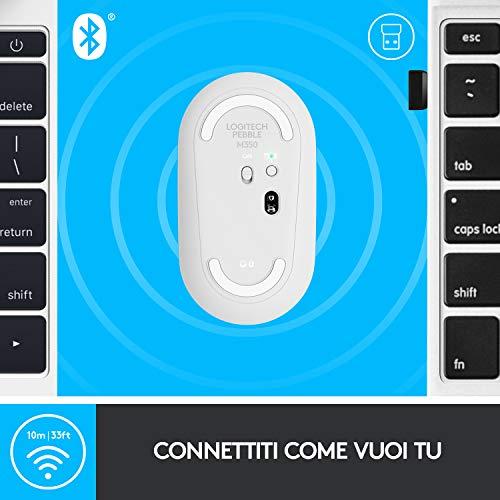 Logitech Pebble Mouse Wireless, Bluetooth o 2.4 GHz con Mini Ricevitore USB, Silenzioso, Sottile, Clic Silenziosi, per PC/Mac/Laptop/iPadOS, Bianco