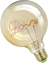 FRCOLOR 4W Vintage Edison Light Bulb with Love E27 G125 Glass Incandescent Bulb Energy- Saving Dimmable Bulb Lamp for Home...