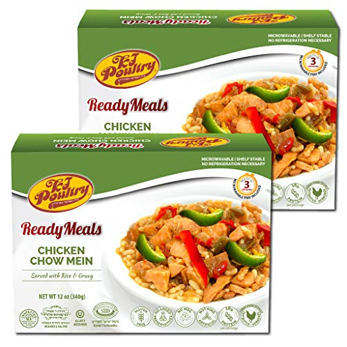 Kosher MRE Meat Meals Ready to Eat, Gluten Free Chicken Chow Mein (2 Pack) - Prepared Entree Fully Cooked, Shelf Stable Microwave Dinner – Travel, Military, Camping, Emergency Survival Protein Food