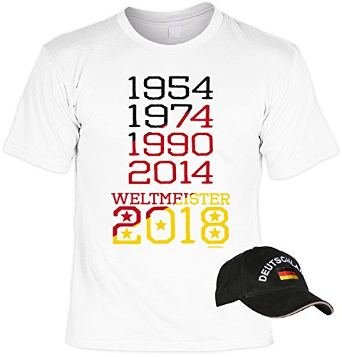 since68 Fußball T-Shirt Deutschland mit Baseball Cap, Set, Fanartikel, Trikot - 1954 1974 1990 2014 Weltmeister 2018