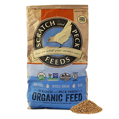 Scratch and Peck Feeds Organic Layer Chicken Feed with Corn for Chickens and Ducks - 25-lbs - Non-GMO Project Verified, Always Soy Free - 1004-25