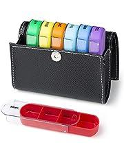 Comius Sharp 28 roosters medicijnbox 7 dagen regenboog pillendoos met PU-leer, handige en vochtbestendige medicijnbox