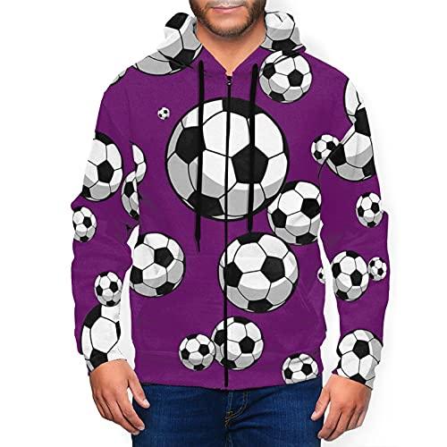 Herren Hoodie Full-Zip Hoodies Classic Graphic Hooded Sweatshirts Active Top Bluse, Fußball Fußball Geo Sports Schwarz, M