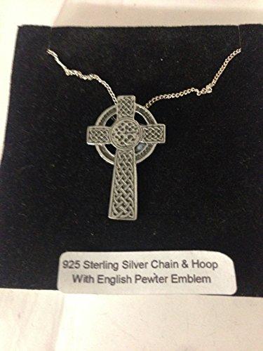 Cruz celta R142 emblema de peltre inglés en un collar de plata de ley 925 de 30 pulgadas