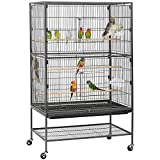 Yaheetech Extra Large 2 Tiers Bird Cage for Cockatiels African Grey Quaker Sun Parakeets Green Cheek Conures Flight Cage with Perch Stand and Wheels