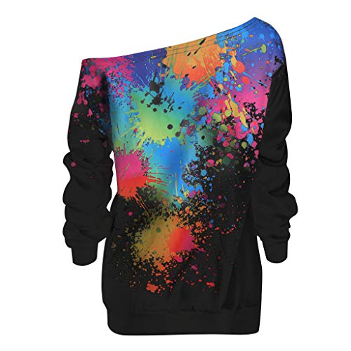 Qmber Damen Shirts Tops Elegant Pullover Frühling Herbst Langarm Mädchen Basics Pulli Bluse Oberteile Sweatshirt Casual Jersey-Top mit diagonalem Kragen/Schwarz,XL