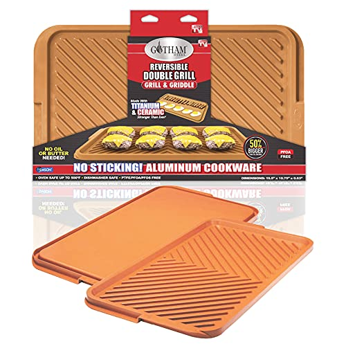Gotham Steel Nonstick Double Grill Griddle Pan, Brown Reversible with Ti-Cerama Coating, Perfect for BBQs and More As Seen on TV-XL, X-Large