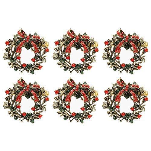 Set di 6 portatovaglioli natalizi ad anello, per la decorazione della tavola a Natale