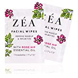 ZEA Facial Wipes | Infused With Rose Hip Essential Oil | Alcohol and Paraben Free | 50 Convenient On-The-Go Packets