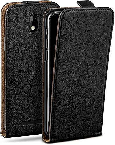 moex Flip Hülle für HTC Desire 500 Hülle klappbar, 360 Grad R&um Komplett-Schutz, Klapphülle aus Vegan Leder, Handytasche mit vertikaler Klappe, magnetisch - Schwarz