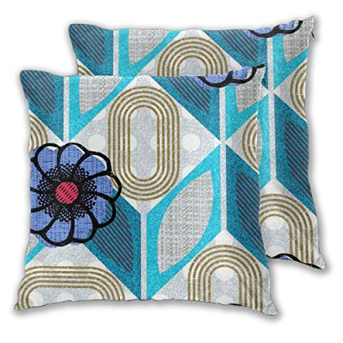Maximalist Chevron With Flowers Throw Pillow Case Daily Decoration Lumbar Pillow Covers Sofa Bedroom Car Cushion Cover Zip Square Pillow Cover 18'x 18'