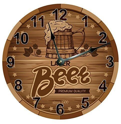 Monsety Lustige Wanduhr, dekorativ für Wohnzimmer, Bier, Lager, braune Uhr, große Wanduhr, Kinderzimmer, runde Holzuhr, Küchendekoration, groß, 38 cm