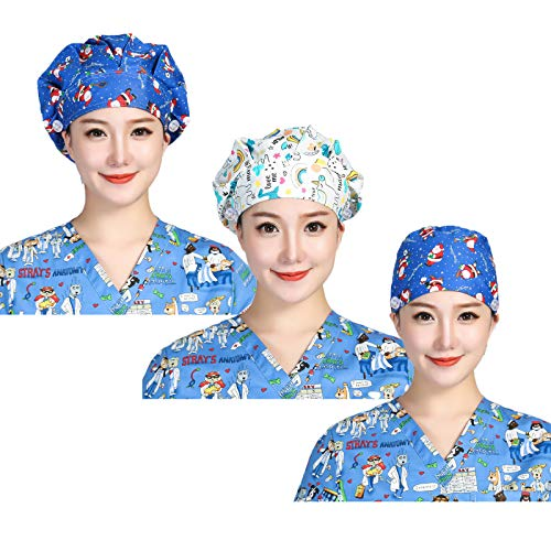 Asufegucd 3pc Women's Adjustable Bouffant Hats with Button Working Cap and Sweatband Adjustable Tie Back Hats for Women/Men (Christmas Style)