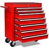 Tidyard Metall Werkstattwagen Werkzeugwagen Werkzeugtrolley mit 7 Schubladen und 4 Lenkrollen, Abschließbar, Rot