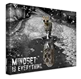 Mindset Is Everything Motivational Canvas Wall Art Black And White Framed Inspirational Entrepreneur Quote Tiger Artwork Painting Picture For Living Room Bedroom Office Home Decor 20x16 Inch