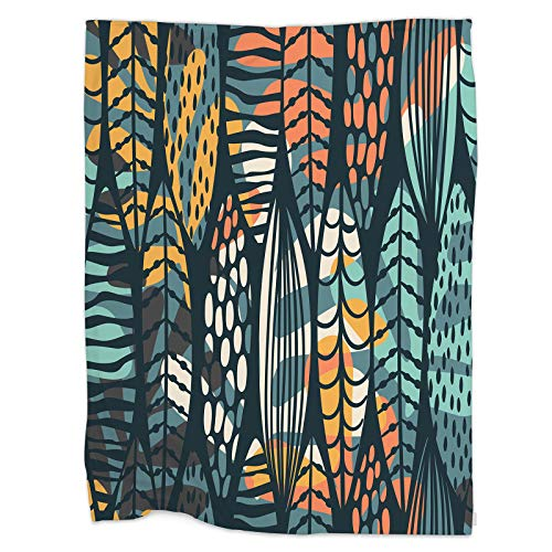 Swono Tropical Leaf Throw Blanket,Tribal Seamless Pattern with Abstract Leaves Thorw Blanket Soft Warm Decorative Blanket for Bed Couch Sofa Office Blanket 50'X60'