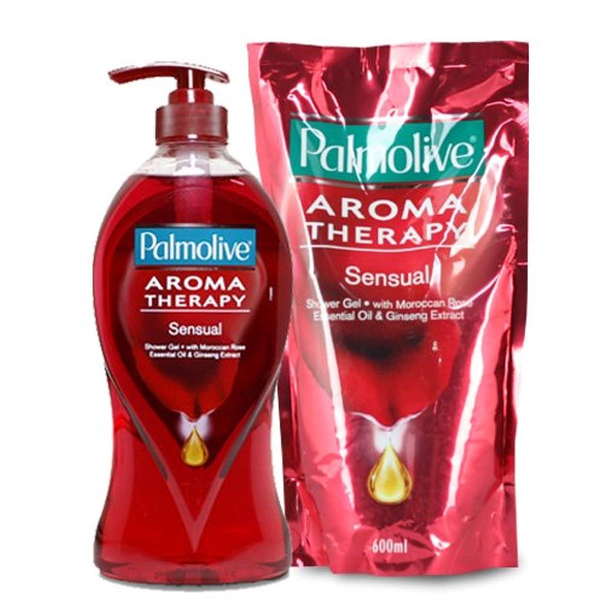 褐色たくさんアサー【Palmolive】パルモリーブ アロマセラピーシャワージェル ボトルと詰め替えのセット (センシャル)