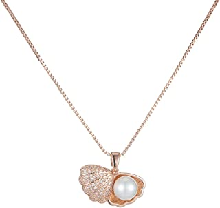 Pearl Necklace Pendant for Women,Shell Pendant Necklace Cubic Zirconia Rose Gold with 45cm+5cm Chain