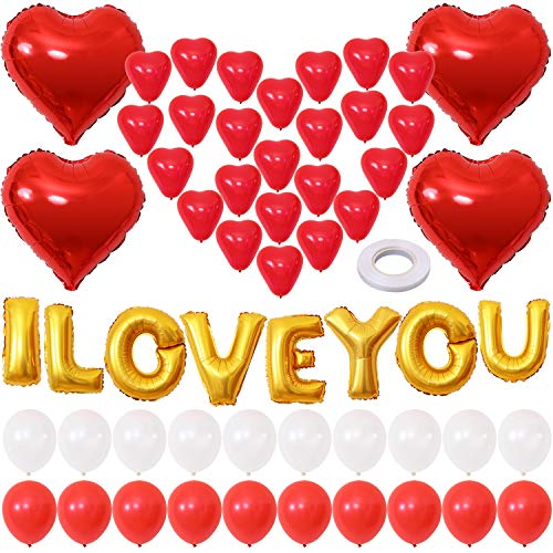 Find Bargain Aneco 56 Pieces I Love You Balloons Valentine Balloons Kit Heart Balloons Kit Valentine...