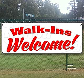 Walk INS Welcome 13 oz Heavy Duty Vinyl Banner Sign with Metal Grommets, New, Store, Advertising, Flag, (Many Sizes Available)